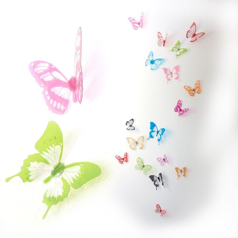 Popular Schmetterling Kinderzimmer D Schmetterlinge bunt Wanddeko Wandtattoo mit Glitzer St ck