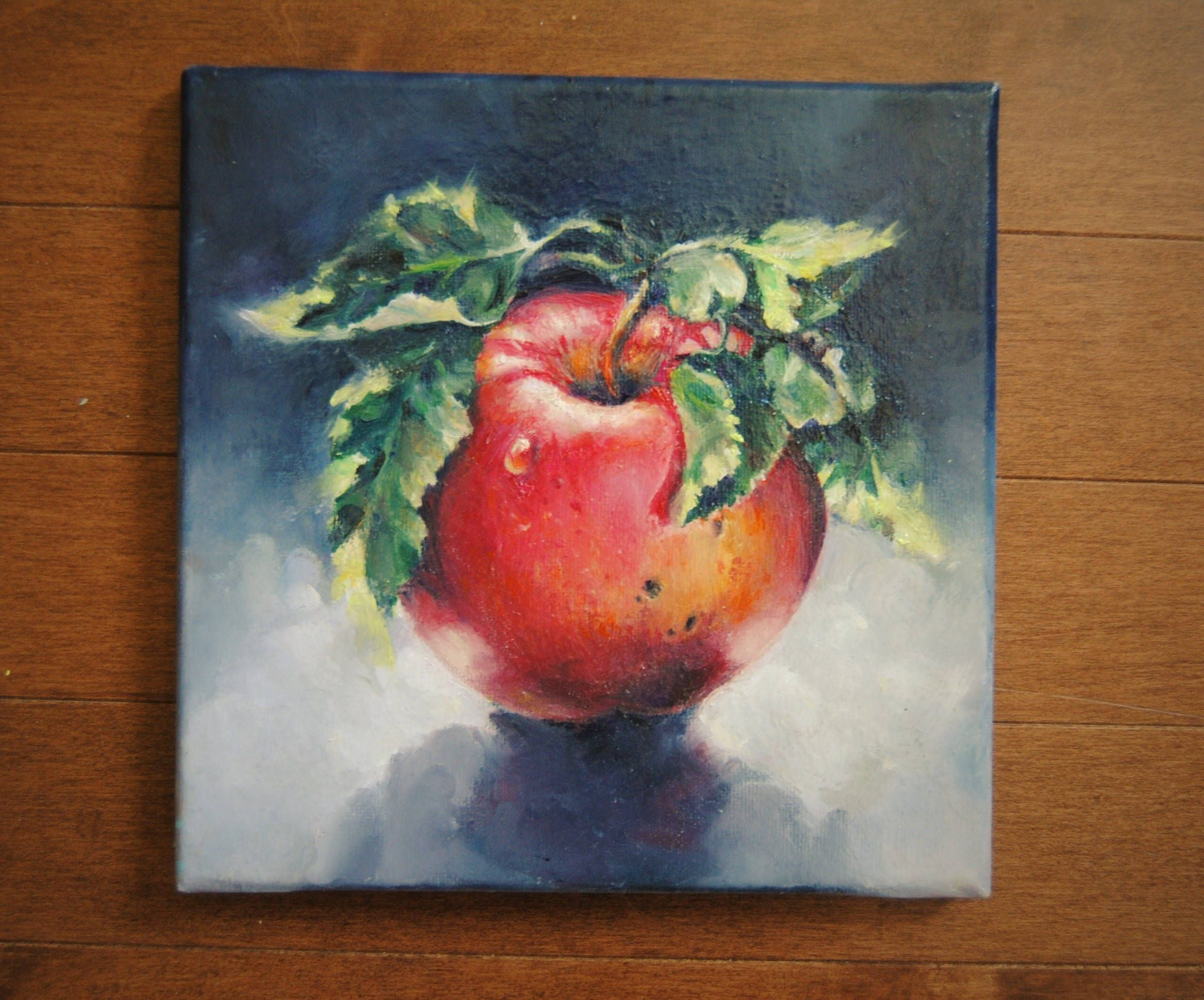 Delicieux Original Oil Painting. Red Apple, Modern Oil Painting Kitchen Art, Fruit  Painting,