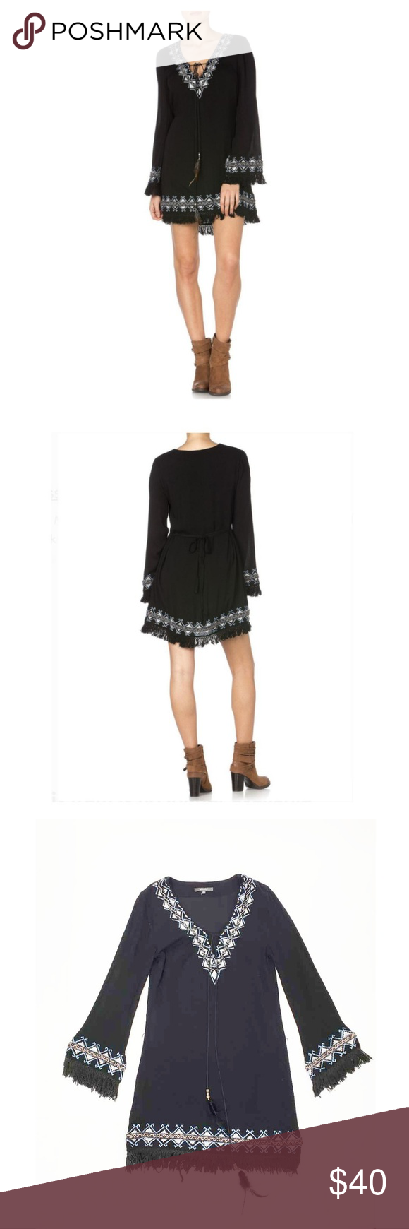c8289134752d Miss Me Embroidered Fringe Dress Miss Me black embroidered fringe dress  Size  S Material  100% Rayon Measurements  Chest  34 in. Sleeve  23 in.
