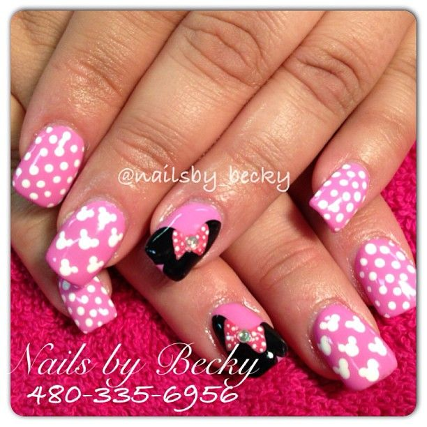 Acrylic fill with Minnie Mouse inspired nail art :) Located in ...