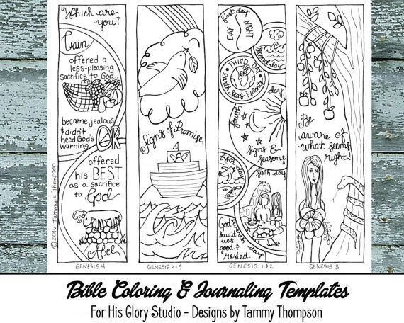 Genesis Chapter 1 Through 9 A PDF Page Full Of FOUR Sketches And For Bible Journaling Coloring Projects Chapters 2
