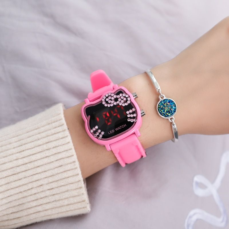 28d33a77a2ed Hot Sales Cute Hello Kitty Watches Children Girls Crystal Watches Digital  LED Kids Watches Women bracelet