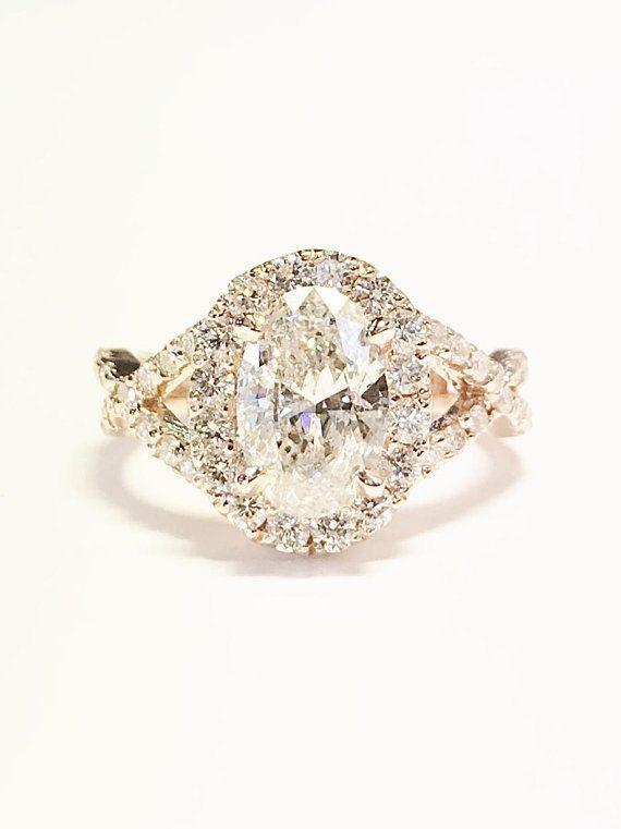 Photo of 1.00CT diamant coupe ovale forme solitaire Halo entrecroisé infini bagues de fiançailles bandes de mariage