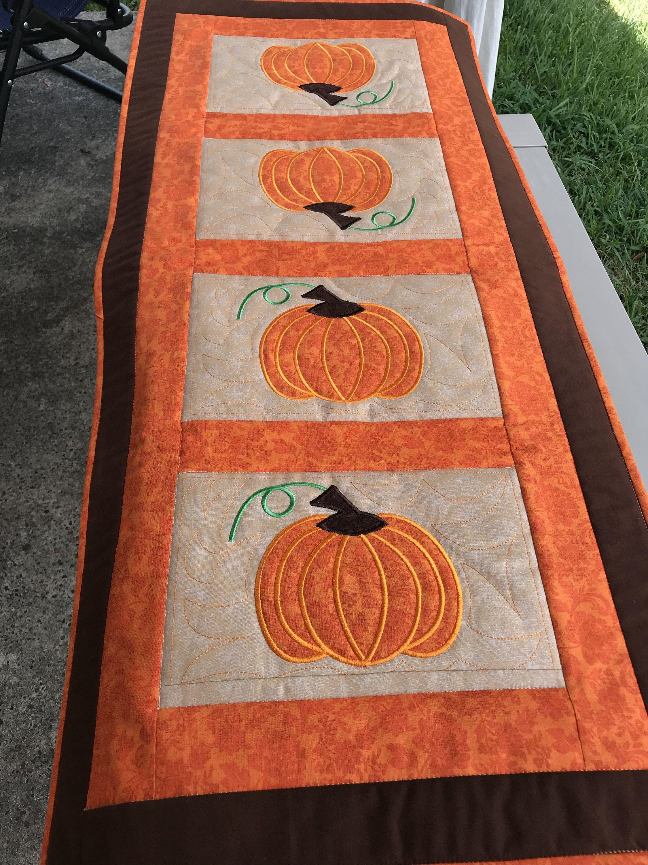 Halloween Pumpkin Handmade Quilted Patchwork Table Runner