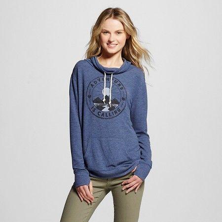 Women's Adventure is Calling Graphic Cowl Neck Sweatshirt Navy ...