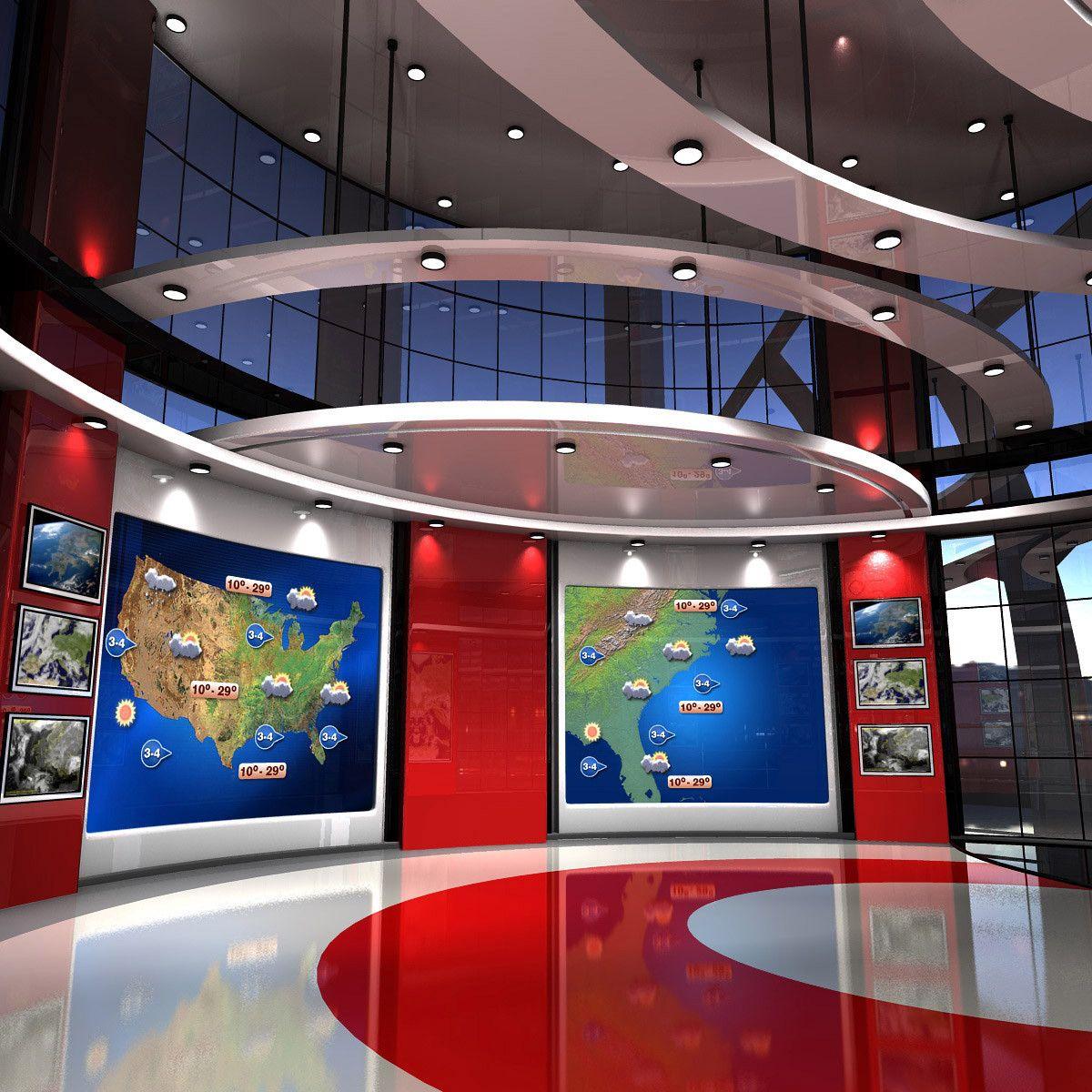 virtual set weather studio 3d max Tv set design, Stage