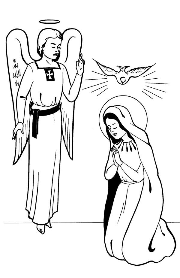 Annunciation with Angel Gabriel All Saints Day Coloring Page | Ideas ...
