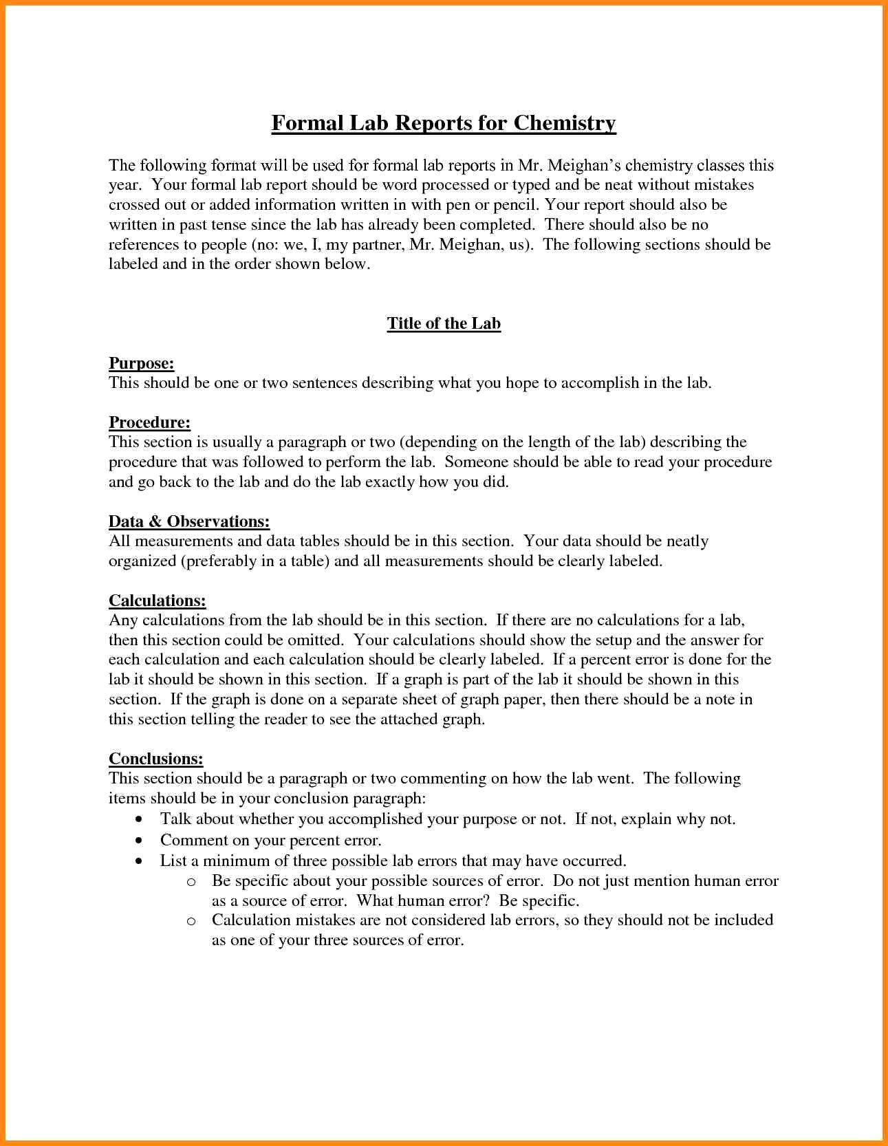 Chemistry Lab Report Template The Miracle Of Chemistry Lab Within