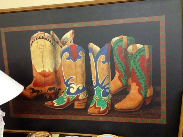 signed franco painting of cowboy boots