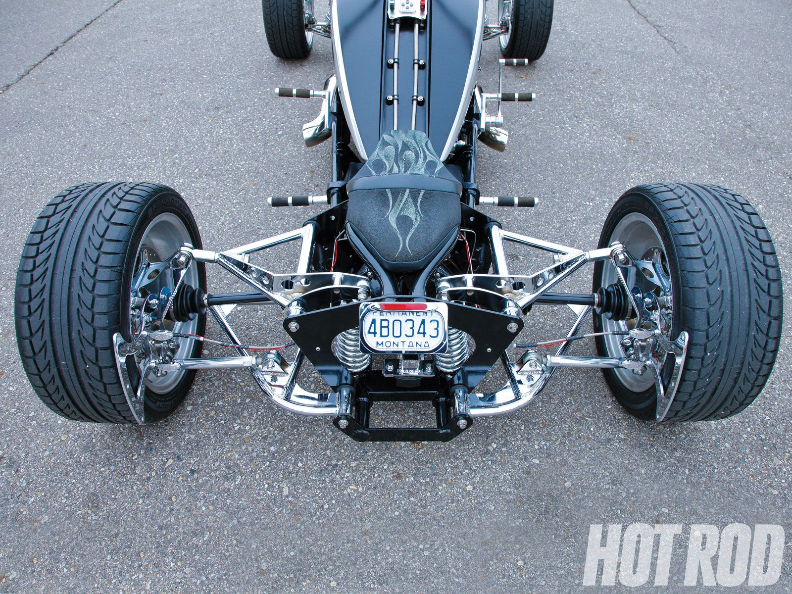 Hot rod quad... back end of the Brimstone Quadracycle, powered by a 300-750hp small-block V8 engine.