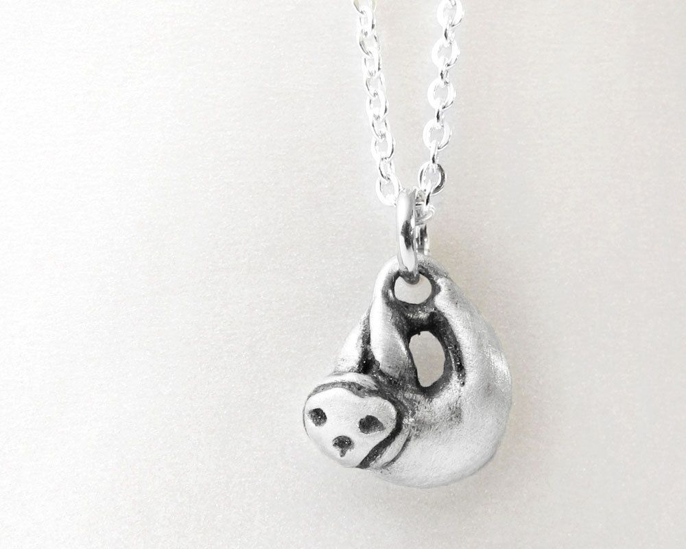 unique stunning pendant handmade s sloth silver itm solid ebay jewellery necklace hanging