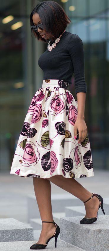 Alexandriah Sho-silva Floral Skirt Fall Street Style Inspo #fullskirtoutfit
