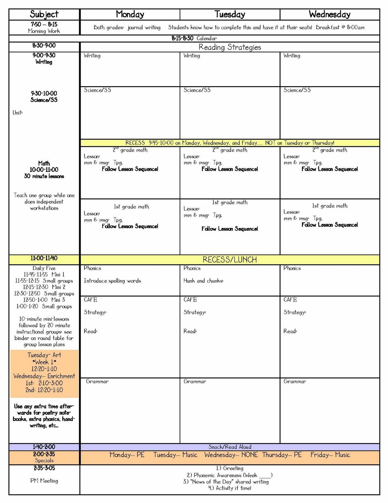 Lesson Plan Template  Classroom Organization    Lesson