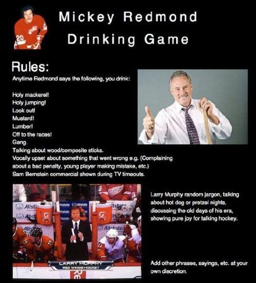 So Playing This Mickey Redmond Drinking Game Drinking Games Drinking Game Rules Detroit Red Wings