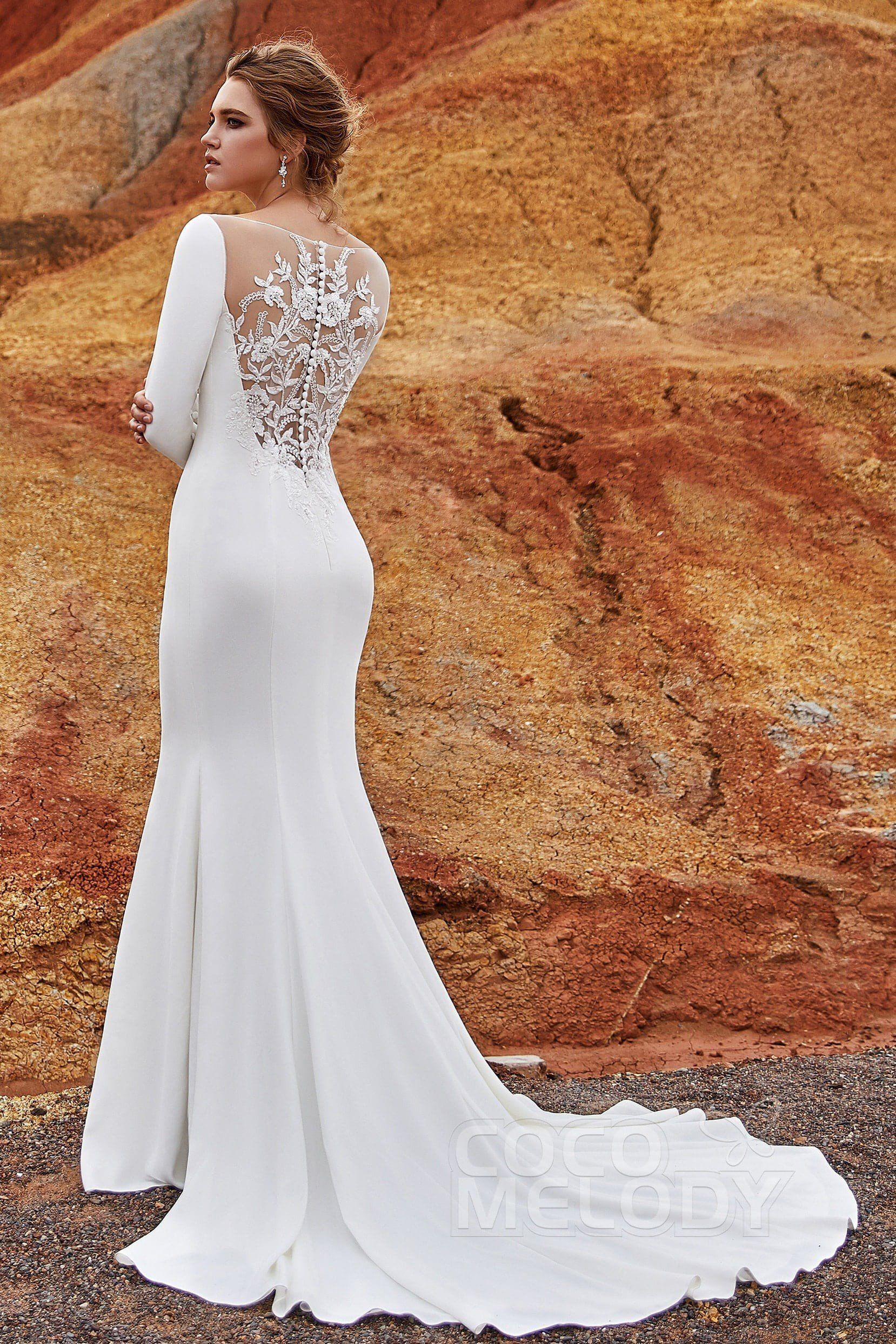 Usd 799 Trumpet Mermaid Bateau Knitted Fabric Wedding Dress Ld5817 Wedding Dresses Wedding Dresses Simple Wedding Dress Long Sleeve [ 2486 x 1658 Pixel ]