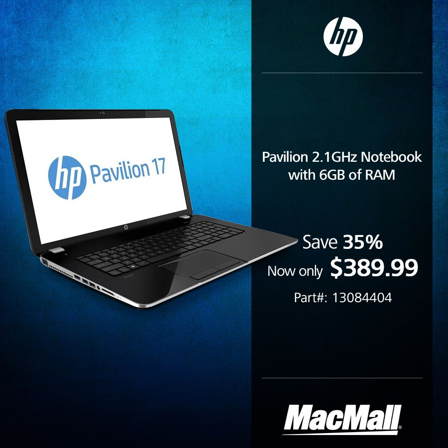 Save 35% on an #HP Pavilion 2.1GHz notebook with 6GB of RAM at MacMall.