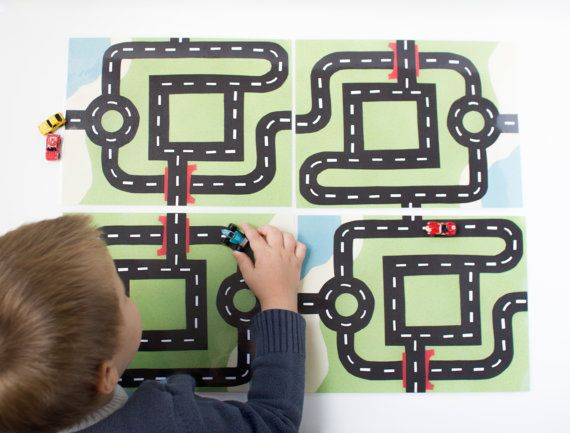 Car Play Mat For Micro Toy Cars Design 1 Roundabout Etsy Car Play Mats Printable Play Mat Play Mat