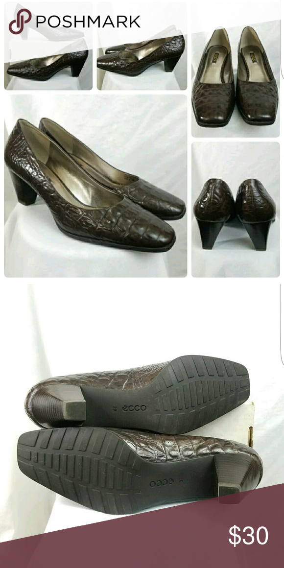 c9f53ce50 Ecco Womens Croc Embossed Brown Heels Size 8.5M Ecco Womens Croc Embossed  Brown Heels Size 8.5M Excellent Pre-Owned Condition Ecco Shoes Heels
