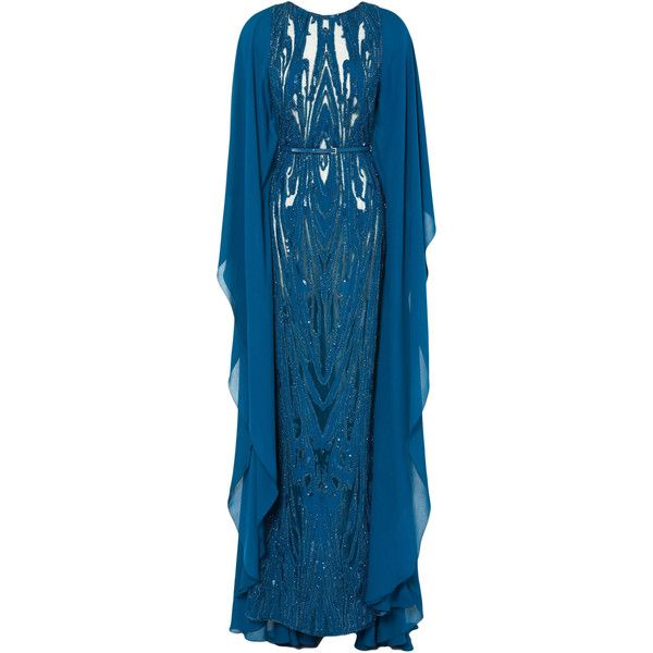 Elie Saab Embroidered Blue Double Silk Georgette Butterfly Sleeve Gown (13,325 CAD) ❤ liked on Polyvore featuring dresses, gowns, zipper dress, blue evening gown, open back evening gowns, beaded evening gowns and blue gown