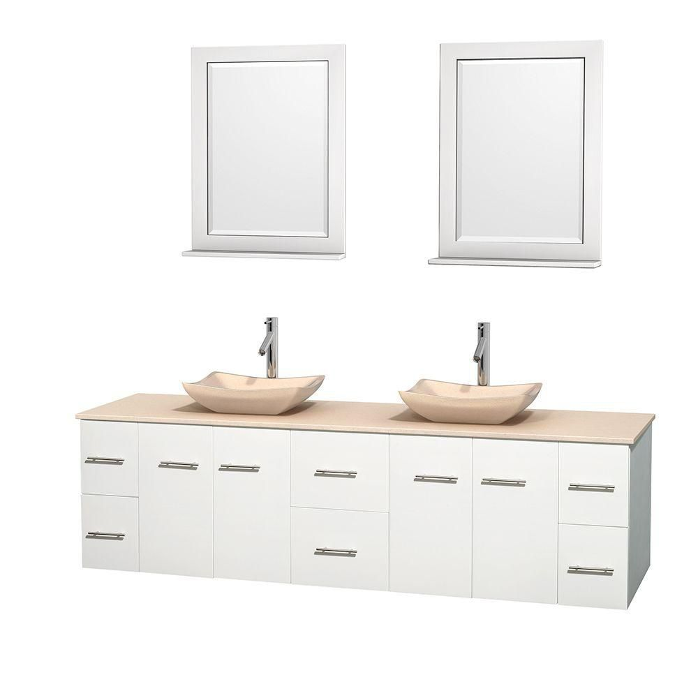 Centra 80 Inch W 6 Drawer 4 Door Wall Mounted Vanity In White With