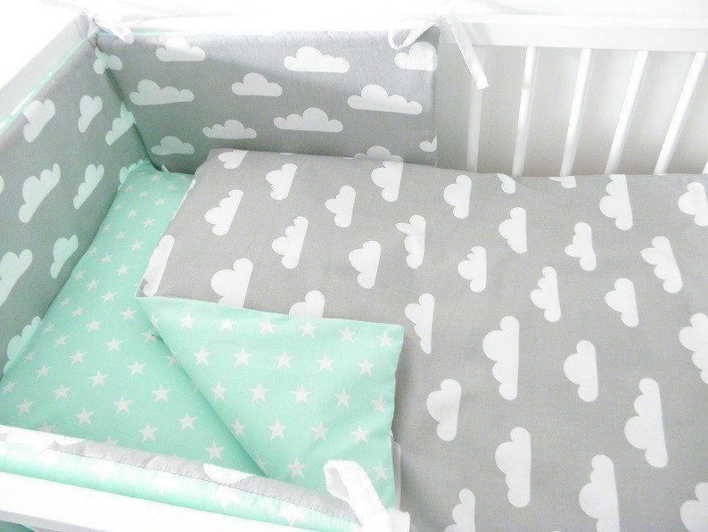 Baby Bettwäsche Baby Bettwäsche 90x120cm Wolke Stern Minze Grau