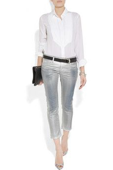 I want these metallic cropped jeans!!!