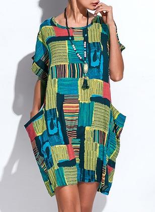 d8be80cd48 Cotton Blends Stripe Short Sleeve Knee-Length Casual Dresses (1041943)    floryday.com