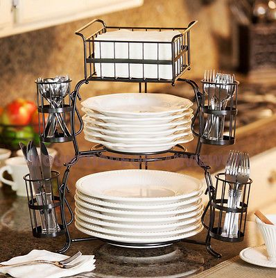 Buffet flatware caddy dinnerware holder party server spoons forks cutlery platesproduct descriptionthis buffet flatware caddy will add flair to your next ... & This 7-piece buffet flatware caddy serving station is ideal for ...