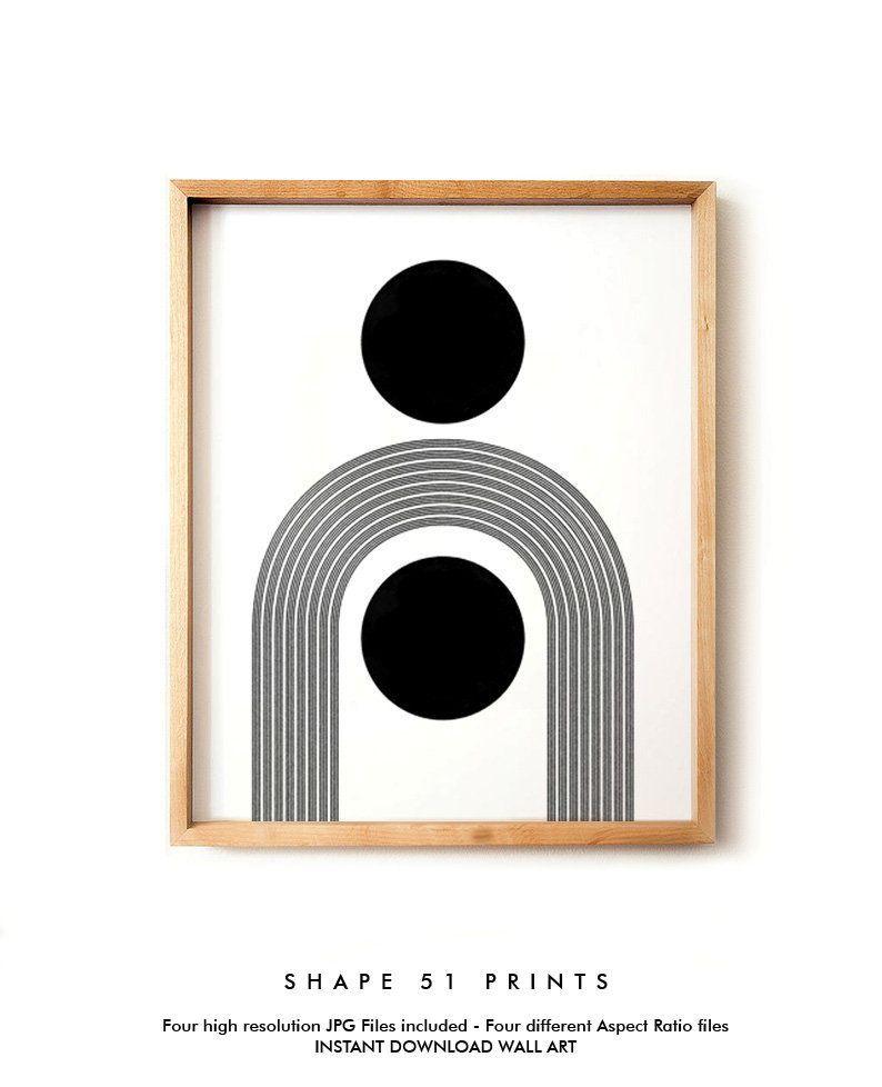 Minimalist Geometric Mid Century Modern Art Printable Art Modern Wall Art Instant Download Woodblock Style Print Scandinavian Modern Black