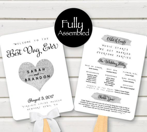 wedding program fan silver best day ever black white glitter music starts we get married everyone parties fully assembled paddle heart fun