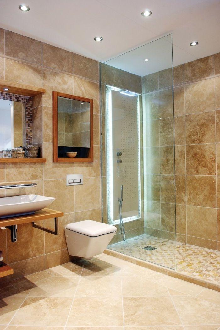 Badefliesen Schick Beige Kleines Badezimmer Dusche