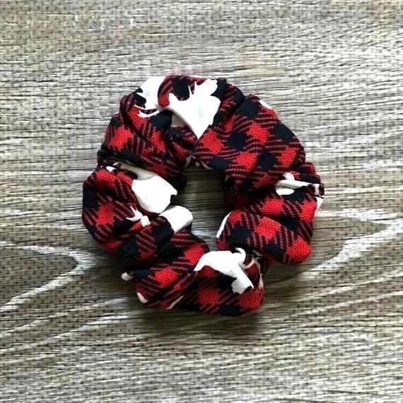 Red and Black Buffalo Plaid Moose Print Hair Scrunchie / Plaid Scrunchie / Red H... - belt models -