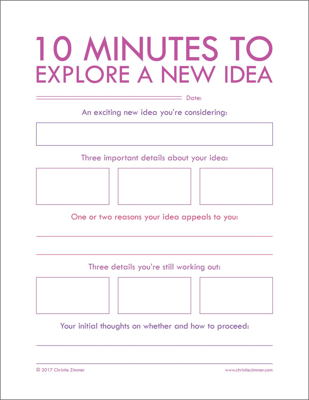 10 Minutes To Explore A New Idea Journal Page By Christie