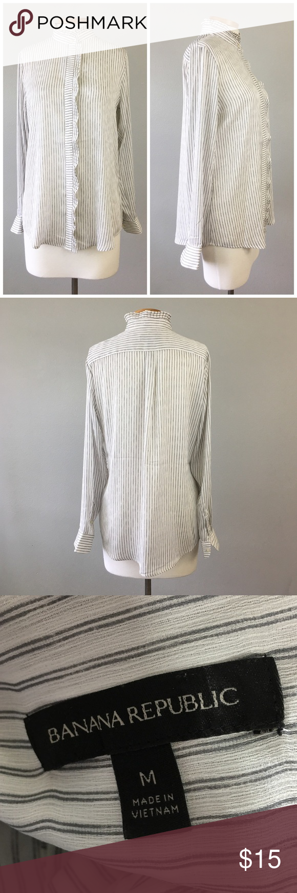 Banana Republic Striped Button Up Ruffle Blouse Banana Republic Striped Button Up Ruffle Blouse. Size Medium. Thank you for looking at my listing. Please feel free to comment with any questions (no trades/modeling).  •Fabric: 100% Polyester  •Condition: Excellent, no visible flaws.   ✨Bundle and save!✨10% off 2 items, 20% off 3 items & 30% off 5+ items! KA Banana Republic Tops Button Down Shirts
