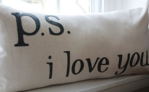 14x28 PS I Love You Pillow CoverMade to order by KelsCozyCorner, $55.00