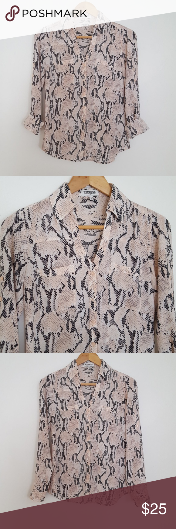 15b0486d Express Blush Snakeskin Portofino Button Down Express blush pink snakeskin  button down v neck blouse with roll tab sleeves and two front pockets.