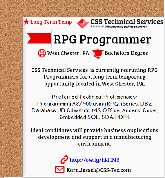 Css Is Hiring Rpg Programmers In West Chester Pa L Email Resume