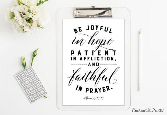 Bible Verse Wall Art Print UK Romans 12 Scripture Bible Be joyful in hope