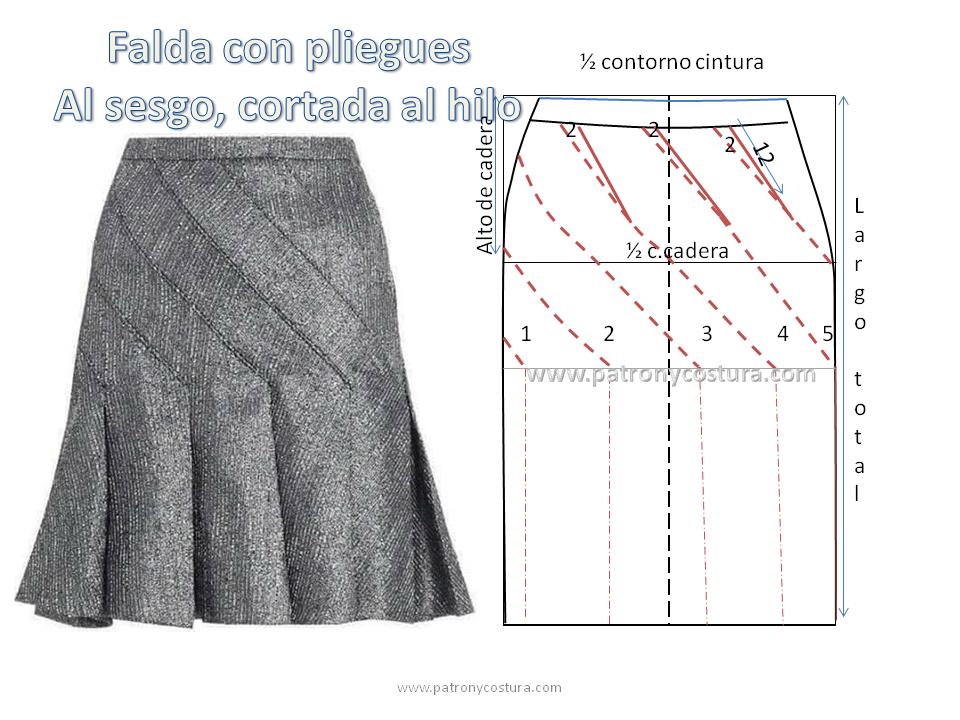 Falda con pliegues al sesgo, cortada al hilo | faldas | Sewing ...