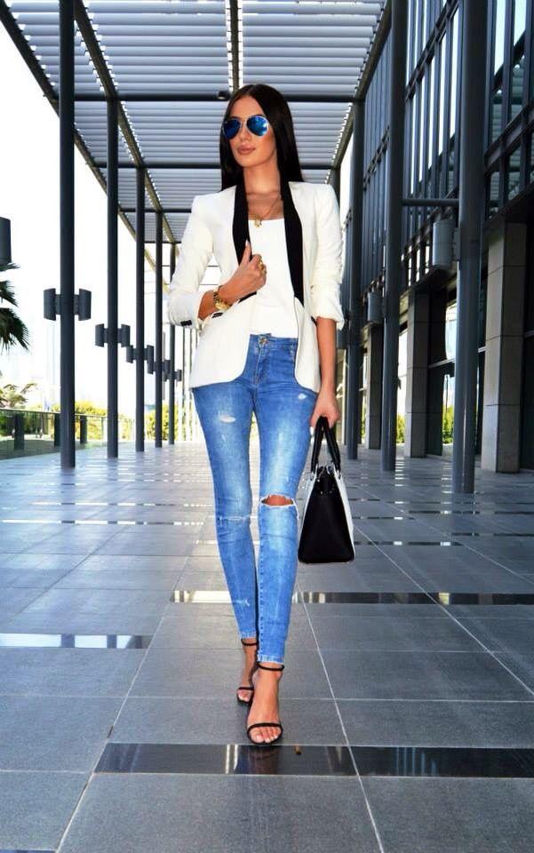 White Crop Top, White Jacket, Jeans Blue