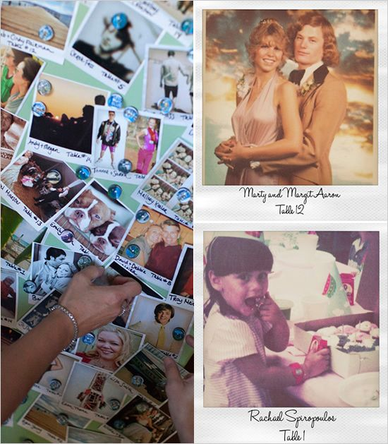 placecards idea, take old picture of everyone from facebook and such and make them into Polaroids!  Gosh I love this idea.