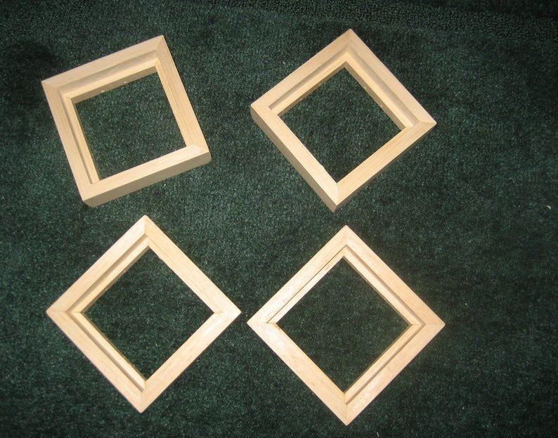 Float Frames For 4x4 75 Canvases Unfinished Wood Etsy In 2020 Floating Frame Handmade Frame
