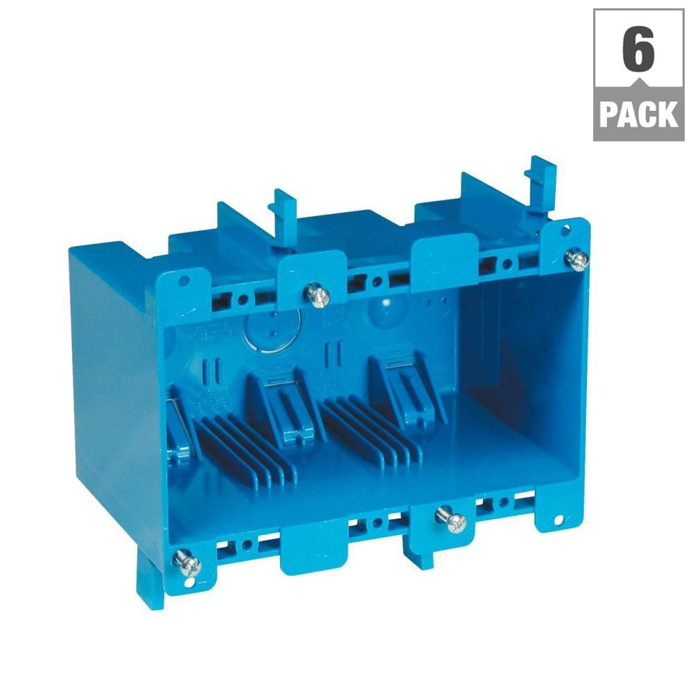 Carlon 3 Gang 55 Cu In Old Work Pvc Electrical Box Case Of 6 B355r Home Depot Online Wall Boxes Plates On Wall