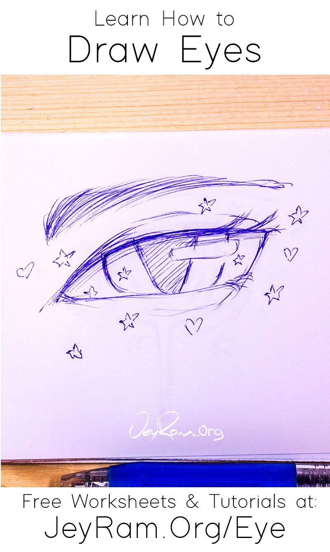 How To Draw Eyes Free Worksheet Tutorial In 2020 Eye Drawing Drawings Tutorial