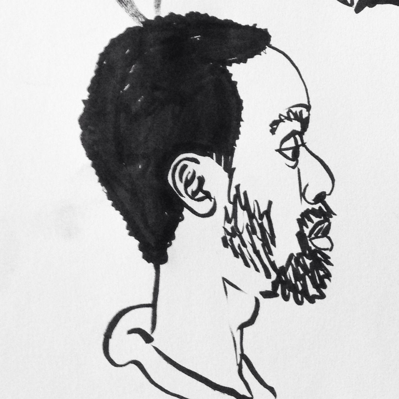 Ink portrait of a man