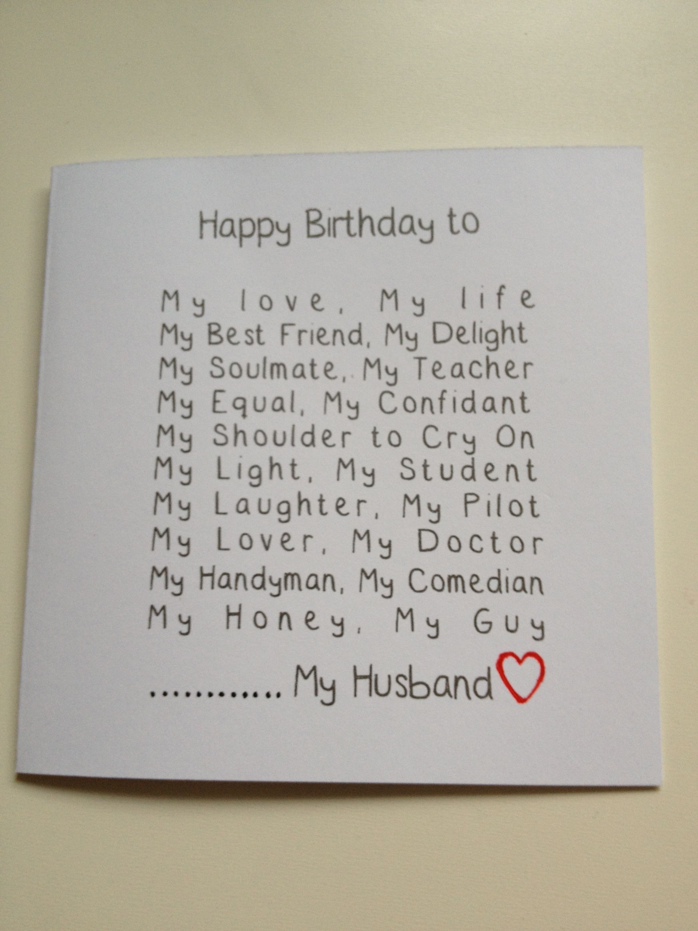 Handmade Husband Birthday Card