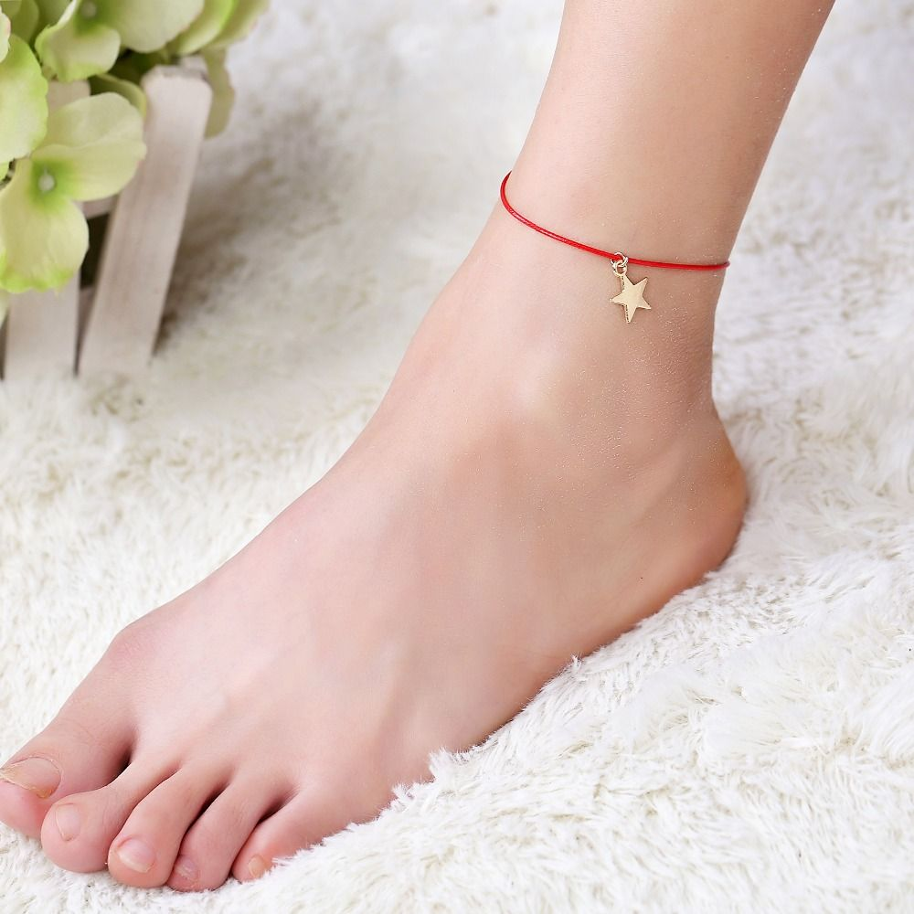 new classical handmade red rope anklets with gold color star