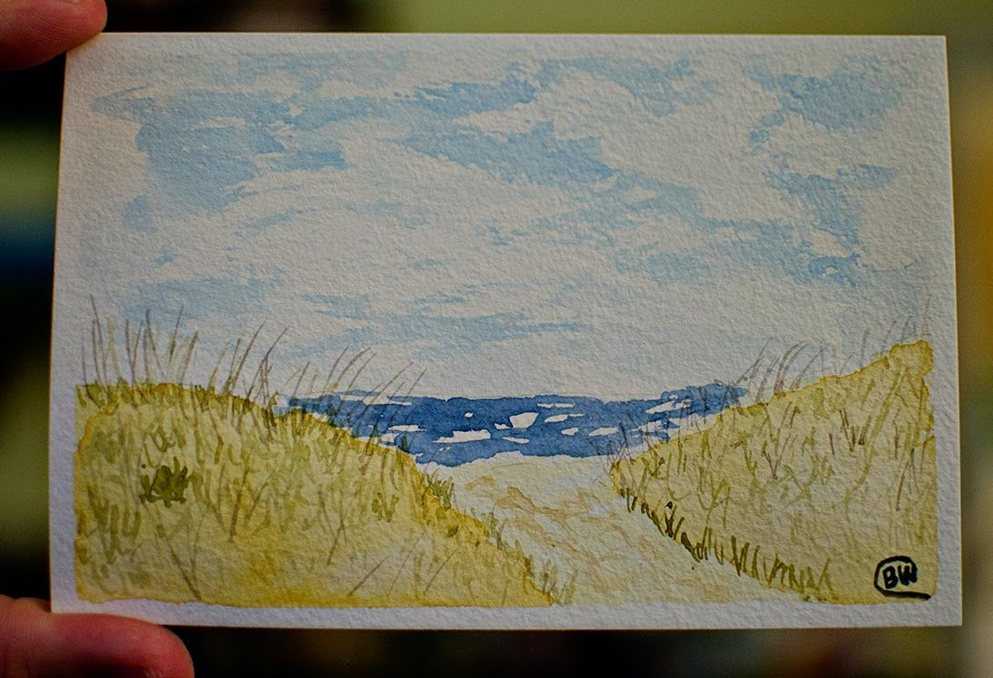 Watercolor 30 Paintings In Days Day 1 Beach View From Our Trip To Myrtle
