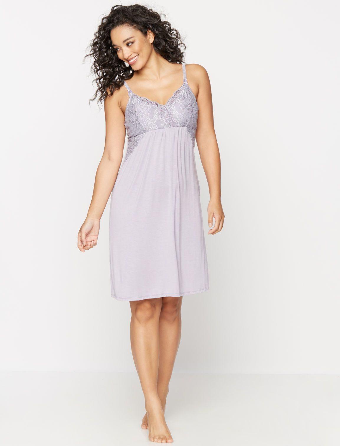 ef0df03812062 Doze in style | Lace trim nursing nightgown by A Pea in the Pod ...