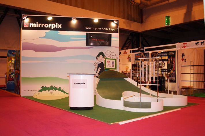 Exhibition Stand Themes : Themed exhibition stand with bespoke golf competition architecture